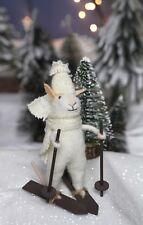 Woollen White Mouse on Skis, Kitsch Felt Vintage Xmas Decoration Gisela Graham