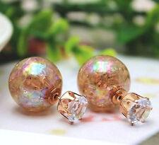 Cristal Doble Perla Brillante irredescent ámbar café Aretes de la bola del grano
