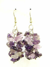 Amethyst Stone Drop Earrings Silver Hook Chandelier Vintage Druzy Gem Style 1094