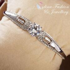 18K White Gold Filled Simulated Diamond Brilliant Cut 4.0 ct Silver Bangle