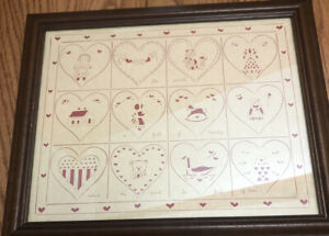 """Designs With Scissors 1986 Scherenschnitte Scissor Art  Signed """"RW"""" Heart Full"""