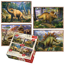 Trefl 4 In 1 35 + 48 + 54 + 70 Piece Boys Kids Dinosaurs Jigsaw Puzzle Set NEW