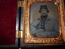 Civil War Soldier (Letter On Hat) 1/9 Ambrotype - Patriotic Case
