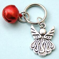 Guardian Angel Charm for Pet Collar Dog or Cat Red Jingle Bell LB97