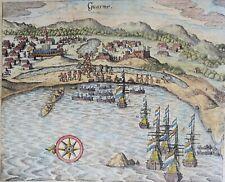 Peru, Huarmey, Dutch Attack, view by Gottfried/Merian, 1631, Guarme