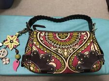 Isabella Fiore Harness Hand Bag Canvas Leather Handbag Purse With Charms