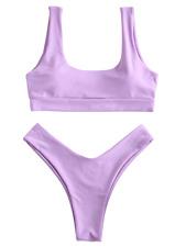 ZAFUL Women's Sexy Scooped High Cut Bikini Set Swimsuit Swimwear Bathing Suit US