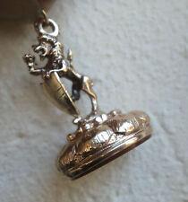 Vintage 9ct Gold Cornelian Watch Fob Seal / Pendant 1971 Lion Rampant & Shield