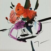"JOSE TRUJILLO - NEW ORIGINAL Watercolor Painting SIGNED Small 3x3"" Glass Vase"