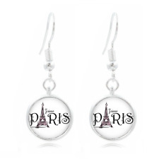 Paris Eiffel Tow glass Frea Earrings Art Photo Tibet silver Earring Jewelry #185