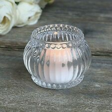 Vintage Style Heavy Glass Tea Light Candle Holder with Ribbed Detail