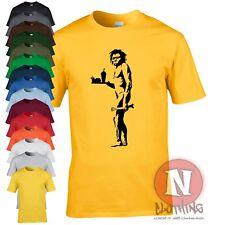 Banksy caveman fastfood teeshirt urban graffiti Bristol cool t-shirt