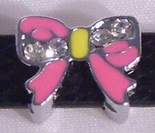 ♥ Schleife pink Strass Slider für Armband Slide Charm Schiebe Modul ♥ MLAB009