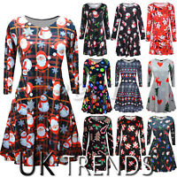 UK Womens Christmas Jumper Dress Santa Snowman Long Sleeves Ladies Mini 6-14
