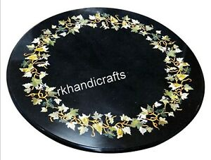 27 Inches Round Marble Coffee Table Top Stone Island table with Peitra Dura Art