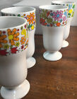 """4 Vintage White Drinking Glasses Footed Pedestal W/ Psychedelic Flowers 5 1/2"""""""