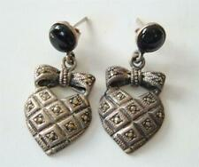 Vintage Sterling Silver Marcasite Black Onyx Earrings Dangle Drop Posts Hearts