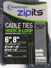 """New listing Cambridge Zipits - Hook & Loop Cable Ties - 6"""" & 8"""" - 75 Reusable Pieces"""