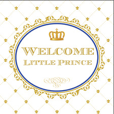 8x8FT Welcome Prince Crown Baby Shower Custom Photo Background Backdrop Vinyl