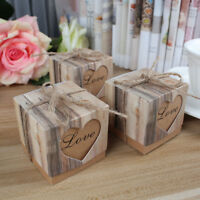 100x Kraft Paper Candy Gift Box Heart Gifts Bags Wedding Party Favors For Guests