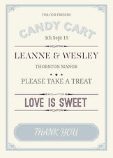 Sweet Table Sign Personalised Weddings Vintage Shabby Chic Retro ANY COLOUR