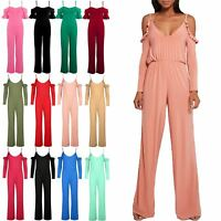 Women Playsuit Ladies Frill Cold Shoulder Palazzo Wide Leg Pant Strappy Jumpsuit