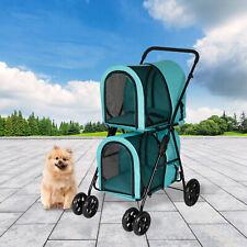 New listing Dog Stroller Pet Travel Carriage 2 Decker Folding Carrier Pet Supply