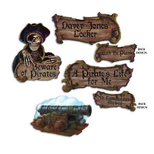 """4 pc Cardboard 16"""" Cutout Pirate Warning Signs  Birthday Party Decorations"""