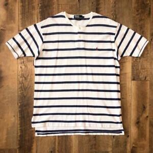 Rare VTG 90s Striped Polo Ralph Lauren White/Blue Pony Logo S/s Henley Shirt L