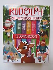 RUDOLPH REINDEER MINI BOARD BOOKS, 12 CHRISTMAS STORYBOOKS W/ CARRYING CASE