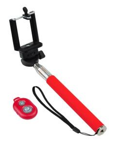 Kit Perche Selfie Télescopique avec Télécommande Bluetooth (Rouge)