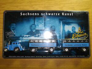 Brauerei Eibauer Truck Lanz Traktor HZ in 1:87 auf Blechschild