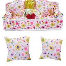 Mini Furniture Floral Sofa Couch+2 Cushion For Barbie Doll House Accessories