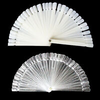 50 False Display Nail Art Fan Wheel Polish Practice Tip Sticks