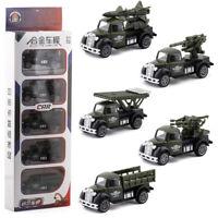 5PCS 1:50 Military Vehicle Army Truck Anti-aircraft Gun Model Car Diecast Toy