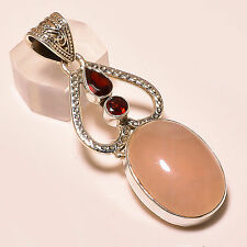 cuarzo rosa, mozambioque Granate Colgante de plata de ley 925 5.7cm