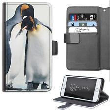 Dos Pingüino Abrazo de Lujo Cartera Cuero Sintético Funda para Teléfono, Libro ,