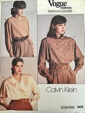 Vogue Sewing Pattern Calvin Klein #1625 Misses' Blouse Loose Fitting Size 8 UC