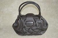 Smythson Nancy Brown Quilted Leather Flap Carry Handle Shoulder Medium Handbag