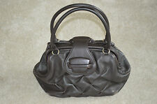 Smythson Nancy Brown Quilted Leather Flap Carry Handle Shoulder Medium Handbag