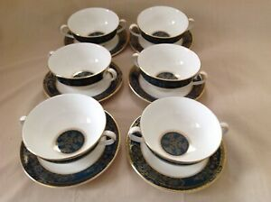 6 X ROYAL DOULTON CARLYLE TWO HANDLED SOUP BOWLS & SAUCERS EXCELLENT CONDITION
