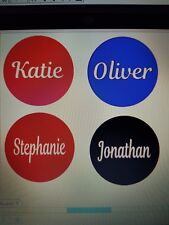 Vinyl name sticker decal for Christmas bauble. kids, children, pets