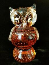 OWL Murano Art Glass Control Bubble Orange Sculpture Figure Millefiori Eyes MCM