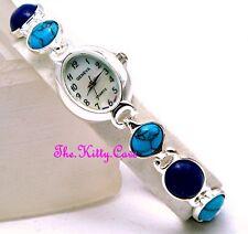 Turquoise & Lapis Lazuli Semi-Precious Gems Mop Silver Pltd Deco Statement Watch