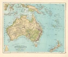 1891 VICTORIAN MAP ~ PHYSICAL AUSTRALIASIA NEW GUINEA NEW ZEALAND TASMANIA