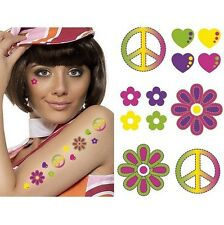 1960s 60s 70s Fancy Dress Pk of 6 CND Hippy Hippie Temporary Tattoos New Smiffys