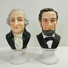 Lefton Bisque American President Bust Figurines Vintage (2) Lincoln Washington