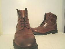 GBX Brando Mens Leather Casual Cap Toe Side Zip Ankle Boots Tan Size 12 M