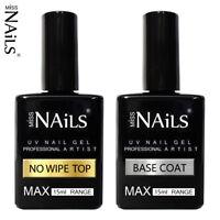 15ml MAX Miss Nails® NO WIPE TOP and BASE COAT UV LED Nail Gel Soak Off Polish