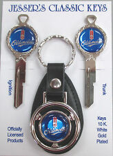 Blue Oldsmobile Rocket Deluxe Classic White Gold Key Set 1935-1966 NOS Keys